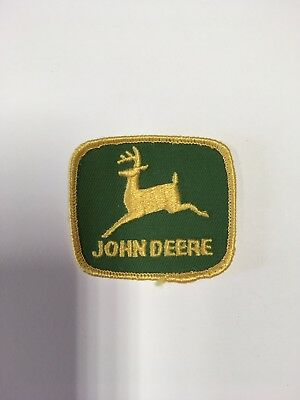 Vintage Patch JOHN DEERE Green Background Tractor Advertising Farm Machinery