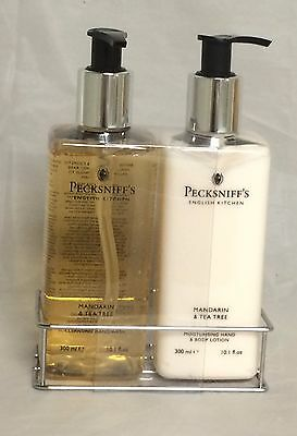 Pecksniff's Mandarin and Tea Tree Hand Wash and Lotion Set with Caddy, 10 fl oz