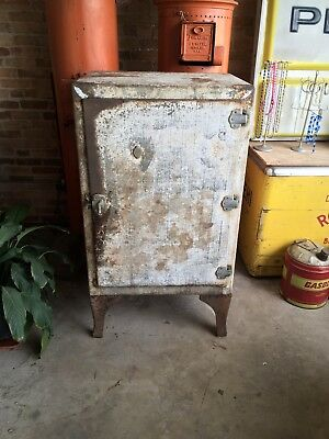 Vintage Metal Ice Box Antique WARD Antique Fridge Kitchen Original Patina