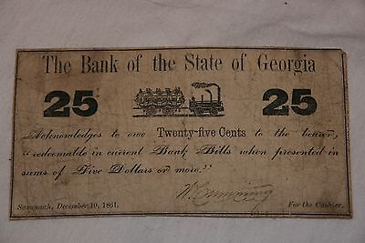 Civil War 1861 The Bank Of The State Of Georgia, 25 Cent Paper Money