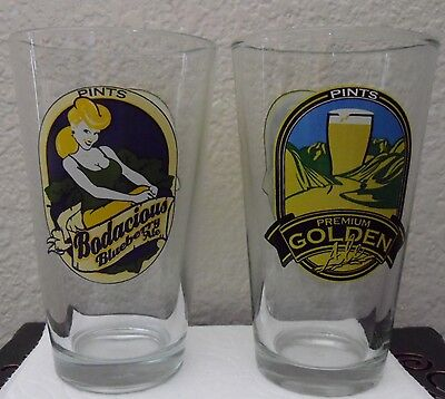 2 PINTS BREWERY & SPORTS BAR-Beer Glasses Laughlin, NV BODACIOUS & GOLDEN ALE