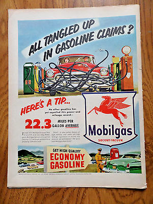 1953 Mobil Oil Gas Ad  All Tangled UP Claims? 1953 Old Fitzgerald Whiskey Ad