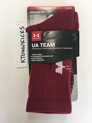 Under Armour UA Team Crew Socks Maroon 1270243 625 Kids Large 1-4 Women's 4-6.5