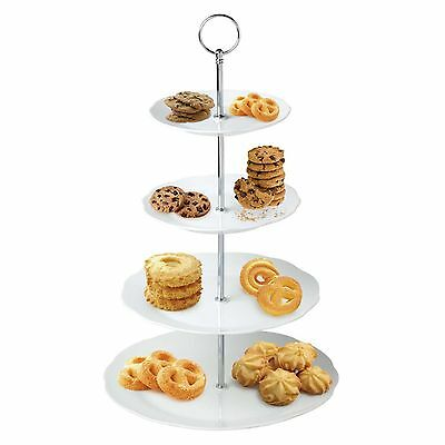 4 Tier White Cake Stand Ceramic Round Flower Display Platter Food Rack Wedding