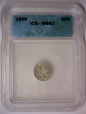 1859 Three Cent Silver 3cS Uncirculated Type Coin ~ ICG MS62 MS 62