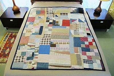 Vintage ANTIQUE Cotton Hand Sewn Gee's Bend Style LOG CABIN (?) Quilt w/ US Flag