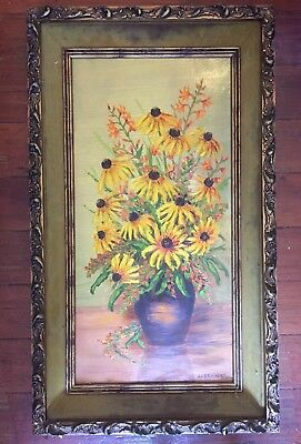 Dorothy Brainerd Oil painting Sunfowers 10x20inches Vintage Mid Century