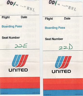 Vintage United Airlines Boarding Pass Lot of 2 USED