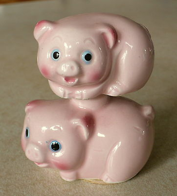 Porcelain Bobble Pigs Figurine Japan