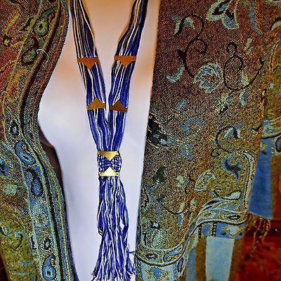 Free People Bohemian Open Road Ombre Blue Thread Fringe Necklace Mint With Tags