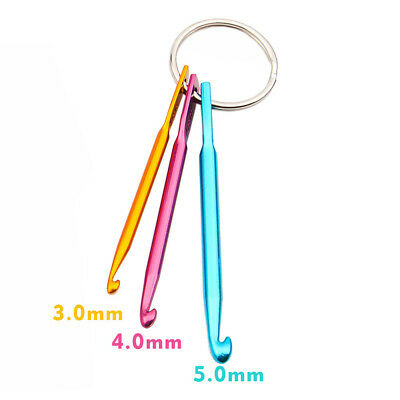 3Sizes/set Mini Aluminum Keychain Crochet Hooks Knitting Needles DIY Crafts New