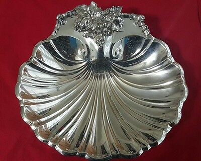 Reed & Barton # 200 Silverplate Footed Scallop Shell with Grapes Tray