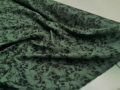 Skull Print Jungle Green Jersey Knit :145Cm Wide :selling By The 1/2 Metre