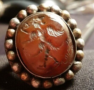 Heavy Silver Segnet Ring Agate Stone Setting Late Byzantine Early Ottoman