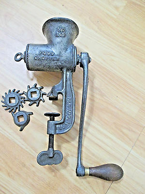 Antique Enterprise #501 Tinned Meat Chopper Meat Grinder w Extra Blades WORKING
