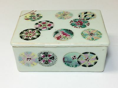 Antique Chinese Famille Rose Porcelain Box With Lid