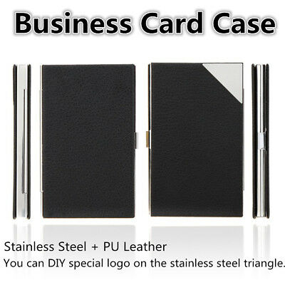 Stainless Steel Business Name Credit ID Card Case Holder PU Leather Box KS