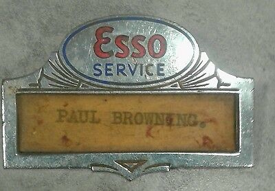 Rare  Esso Service station attendants enamaled Id tag pin 1920's-1930's.