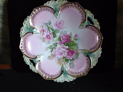 Red Star RS Prussia Porcelain Open Handle Cake Dessert Plate Heavy Gold Tracery