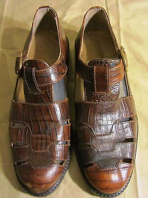 Joan & David Handmade Crocodile Alligator Fisherman Sandals Flats~Brown~37.5=7.5