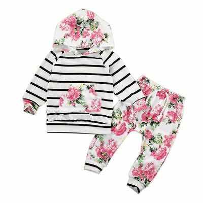 2PCS Newborn Kids Baby Girls Floral T-shirt Tops +Long Pants Outfits Set Clothes
