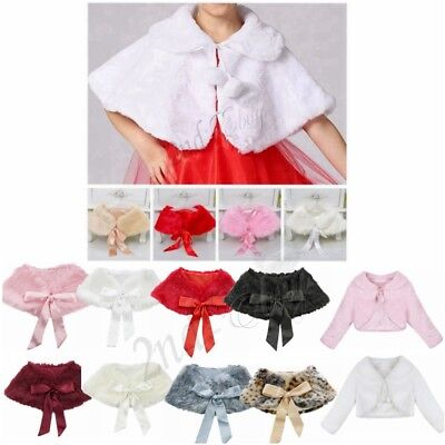9f5d549ec3 Girls Faux Fur Shrug Bolero Kids Wedding Party Cloak Jacket Cardigan Cape  Wrap