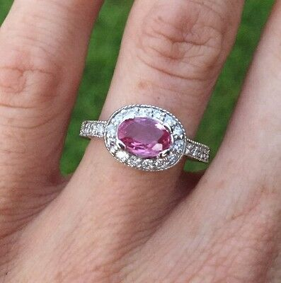 Valued $3505 14ct White Gold Natural Pink Sapphire Genuine Diamond Ring 1.37tcw
