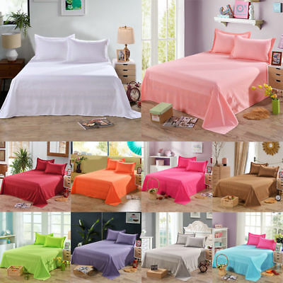 Queen Twin Full Size Bed Sheets Flat Sheet Cover Pillow Case Comfort Solid Color
