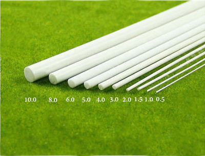 White ABS Plastic Rod Round Solid Bar DIY Model Material 250mmx0.5/1/2/3/5/10mm