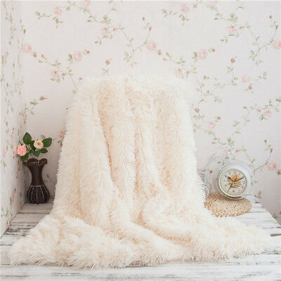 100% Microfiber Polyester Faux Fur Blanket for Couch Light Weight Bed Shaggy Bl