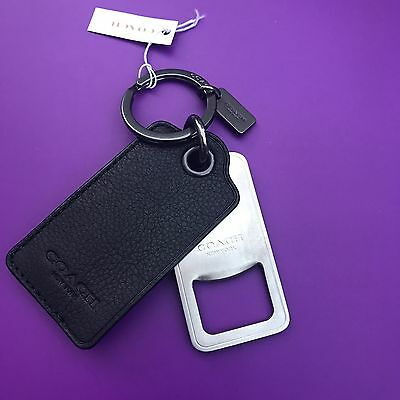 Coach Bottle Opener Leather Nickel Key Chain  Ring Fob 64140 NEW