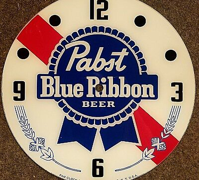 "*new* 14.25"" Pabst Beer Rd Glass Face Pam Clock"