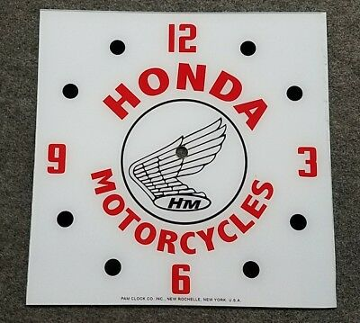 """*NEW* 15/"""" SQUARE TRIUMPH MOTORCYCLE FLAG GLASS FACE PAM CLOCK"""