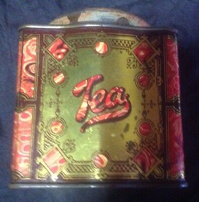 Collectable, Vintage Tea Tin, Red And Gold