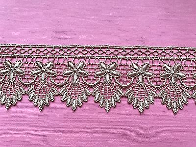 """Laces Galore  Gold Embroidered Tulle  French Lace 6 cm//2/""""  Craft Sew Trim"""