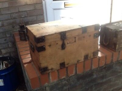 old wooden tool box with hinged lid