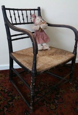 Antique Regency Faux Bamboo Elbow Chair