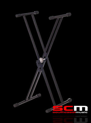 Double Braced Portable Keyboard Digital Piano Synth Stand Sturdy & Adjustable