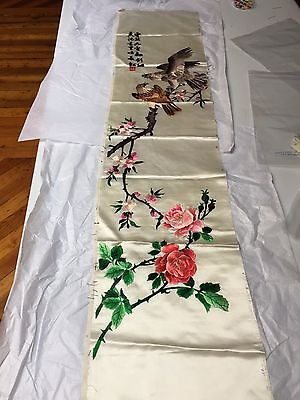 Vintage Chinese Silk Embroidery  Hand Made 2 Eagles Feeding on a Branch Signed
