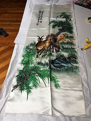 "Vintage Signed Antique Chinese silk embroidery 2 Deer Grazing 41"" x 14"""