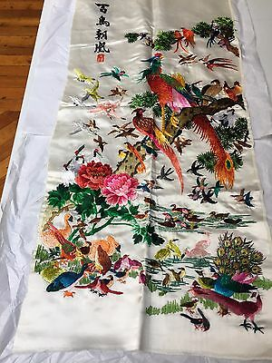 "Vintage Signed Antique Chinese silk embroidery ""Multitude of Birds""  21"" x 14"""