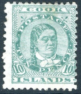 COOK ISLANDS-1893-1900 10d Green Perf 12x11½ Sg 10 LIGHTLY MOUNTED MINT V17983