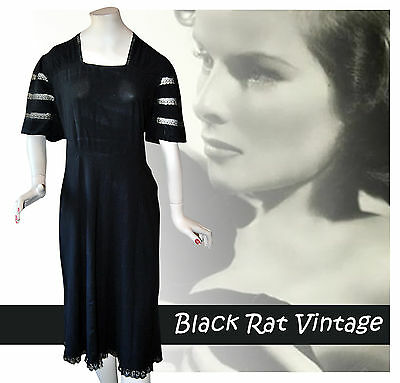 Vintage 1940 Fabulous Art Deco Lace Trim Black Bias Cut Secretary Tea Dress UK12