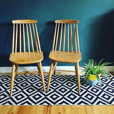 Pair Of Vintage Retro Ercol Stickback Style Dining Chairs Mid Century | Courier!