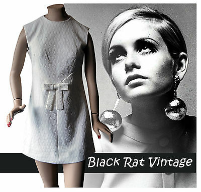 Vintage 1960s White Textured Crimplene Twiggy MOD Scooter Shift SKA Dress UK10