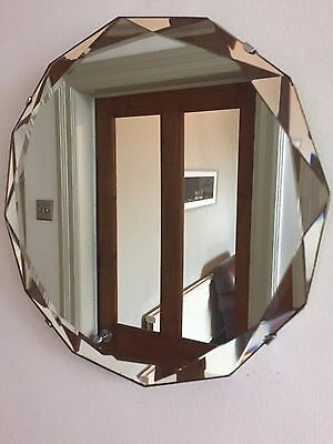 VINTAGE Bevelled Edge Frameless ROUND Wall MIRROR 12-Sided 1930s 40s Small 32cm