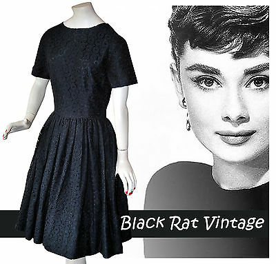 Vintage 1950s Superb Black Cotton Lace Swing Hepburn Cocktail Party Dress - UK8