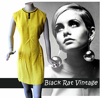 Vintage 1960s Yellow Linen Wiggle Pencil Twiggy MOD Scooter Shift SKA Dress UK14
