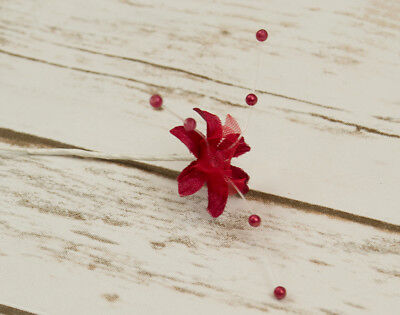 SALE -  72 Fabric Baby Breath Flowers - Red | Artificial Fabric Craft Flowers
