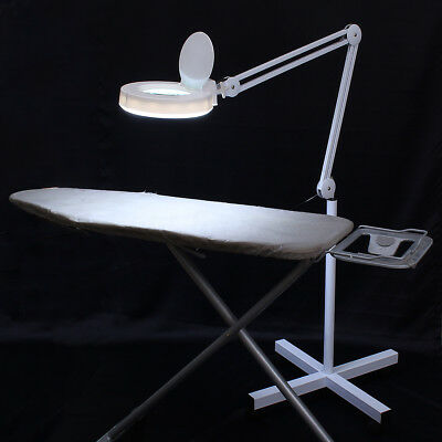 BABAN 8x Magnifying Lamp Glass Lens Round Head Beauty Magnifier Desk Wheel Stand
